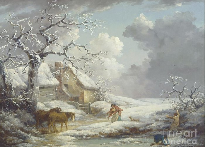 Pd Greeting Card featuring the painting Winter Landscape by Pg Reproductions