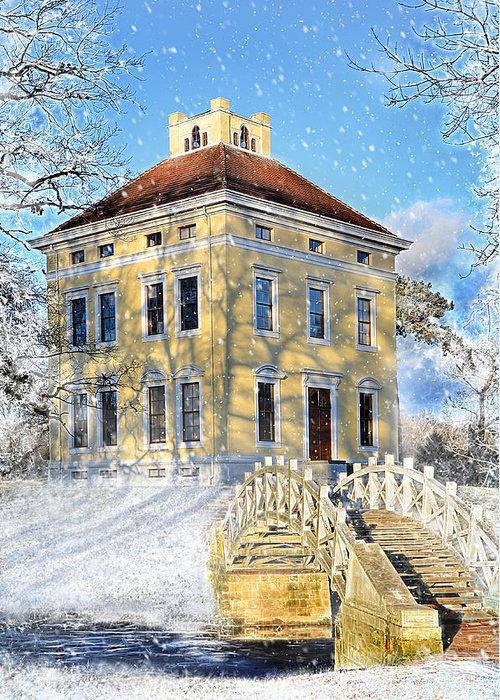 Winter Greeting Card featuring the photograph Winter Landscape With A Bridge Over The River And Interesting Home by Gynt