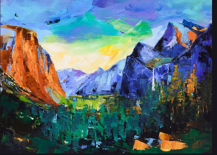 Yosemite Valley Greeting Card featuring the painting Yosemite Valley - Tunnel View by Elise Palmigiani