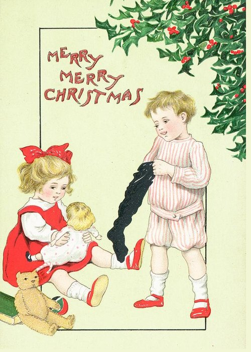 Christmas; Greeting; Cards; Holly; Children; People; Boys; Girls; Toys; Dolls; Teddy; Bears; British Christmas; Card Greeting Card featuring the painting Christmas Card by English School