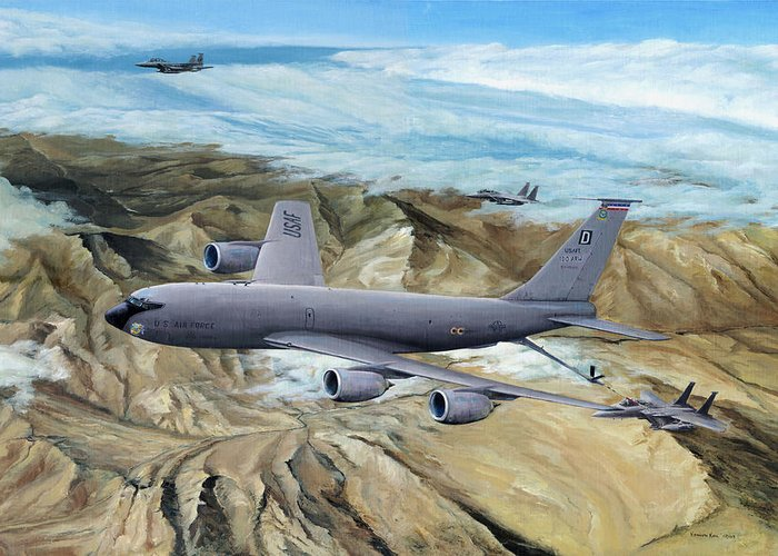 100th Arw Flagship Greeting Card featuring the painting 100th Arw Flagship by Kenneth Karl
