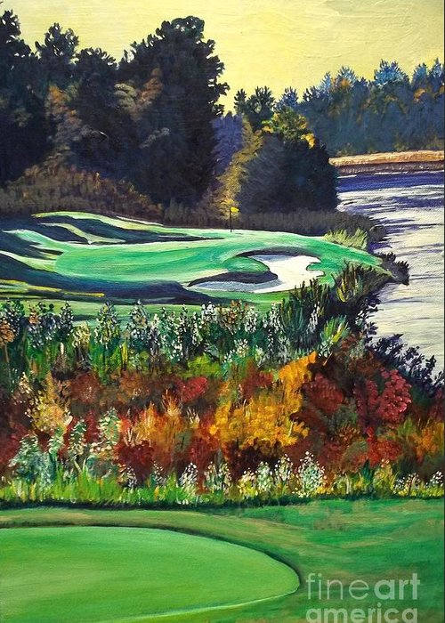 Art Greeting Card featuring the painting 11 At Legacy Links by Frank Giordano