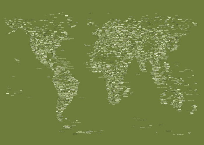 Map Of The World Greeting Card featuring the digital art World Map Of Cities by Michael Tompsett