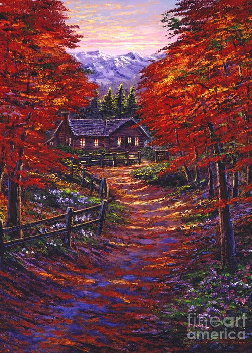 Landscape Greeting Card featuring the painting 1133 Friendly House by David Lloyd Glover
