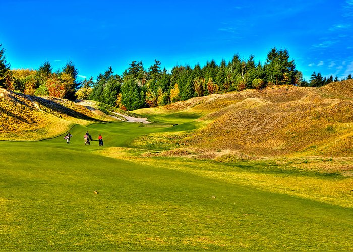 Chambers Bay Golf Course Greeting Card featuring the photograph #12 At Chambers Bay Golf Course - Location Of The 2015 U.s. Open Championship by David Patterson