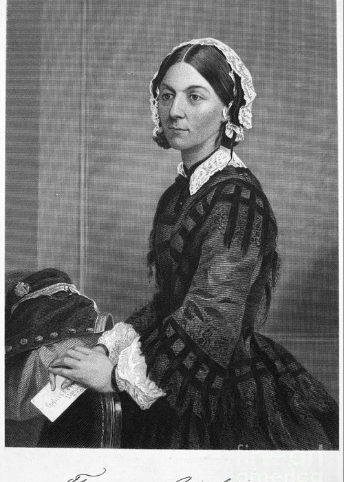 19th Century Greeting Card featuring the photograph Florence Nightingale by Granger