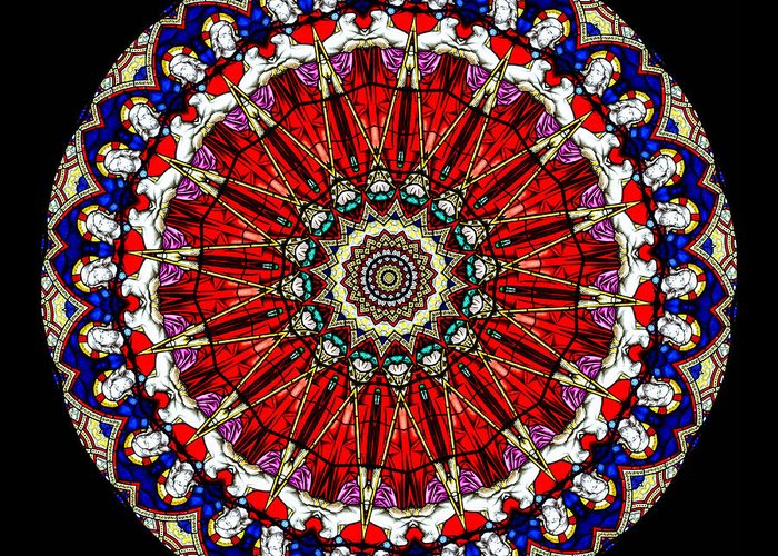 Abstract Greeting Card featuring the photograph Kaleidoscope Stained Glass Window Series by Amy Cicconi