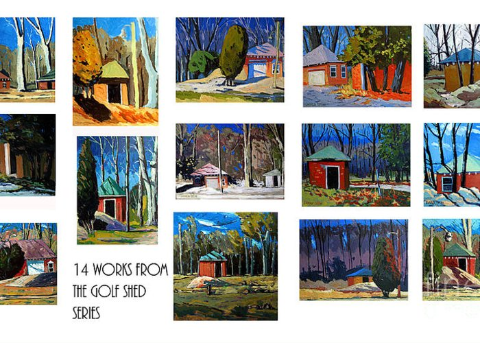 Collected Works In A Series Greeting Card featuring the photograph 14 Works From The Golf Shed Series by Charlie Spear