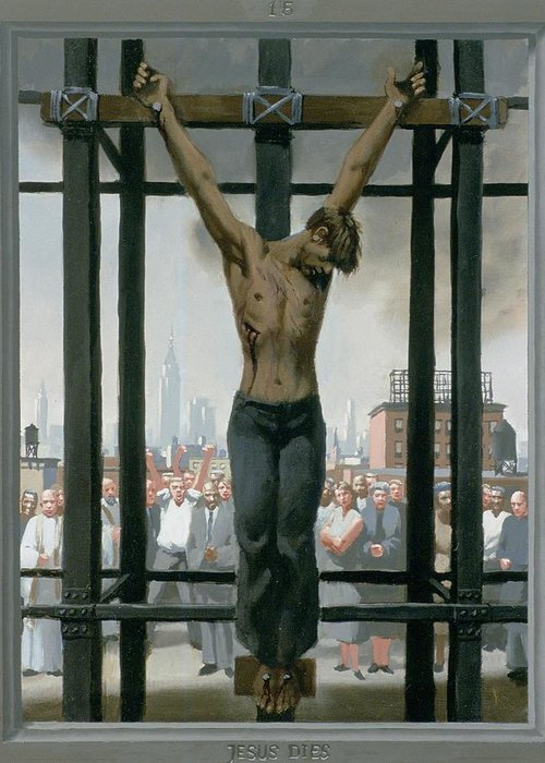 Jesus Greeting Card featuring the painting 15. Jesus Dies / From The Passion Of Christ - A Gay Vision by Douglas Blanchard