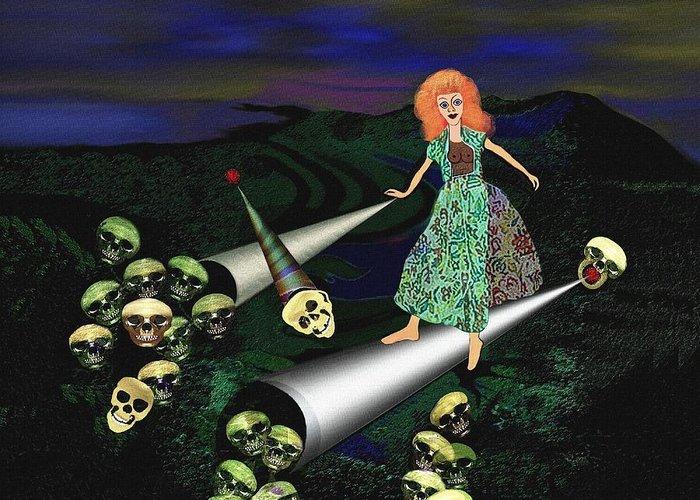 Creepy Greeting Card featuring the digital art 165 -  Lindas Nightwalk by Irmgard Schoendorf Welch