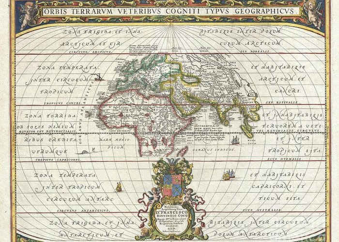 An Exceptional 1650 Map Of The World As It Was Known To The Ancients By Jan Janssonius. Such Maps Greeting Card featuring the photograph 1650 Jansson Map Of The Ancient World by Paul Fearn