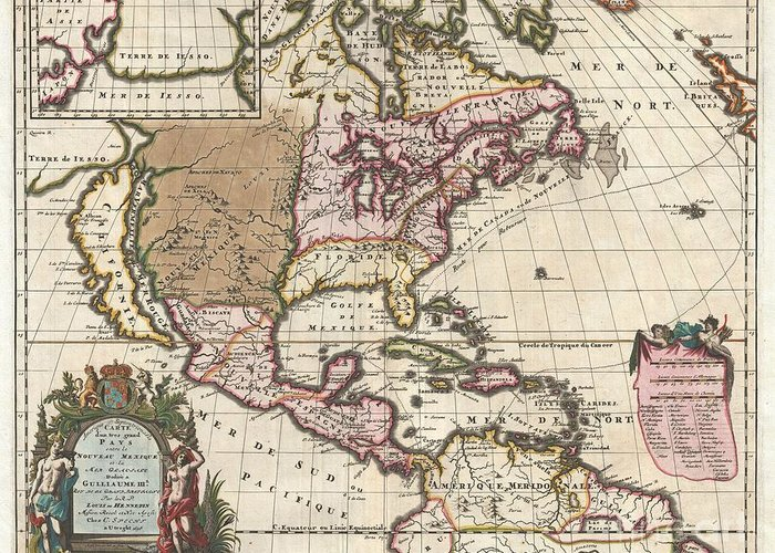 A Map That Fundamentally Impacted The Cartographic History Of America Greeting Card featuring the photograph 1698 Louis Hennepin Map Of North America by Paul Fearn