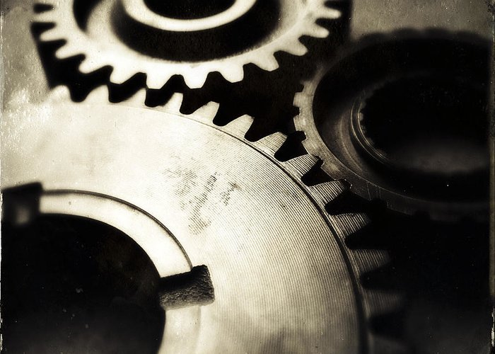 Three Greeting Card featuring the photograph Cogs by Les Cunliffe