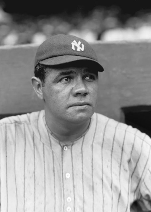 Baseball Greeting Card featuring the photograph George H. Babe Ruth by Retro Images Archive