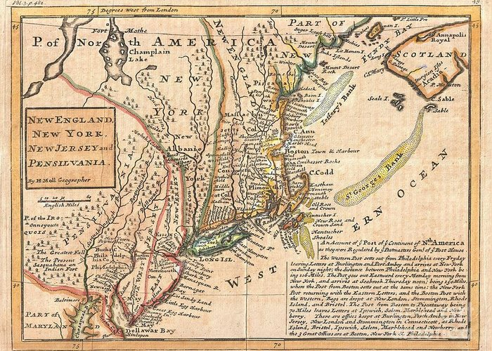 """Known Among Cartographic Historic As The """"post Map� Greeting Card featuring the photograph 1729 Moll Map Of New York New England And Pennsylvania by Paul Fearn"""