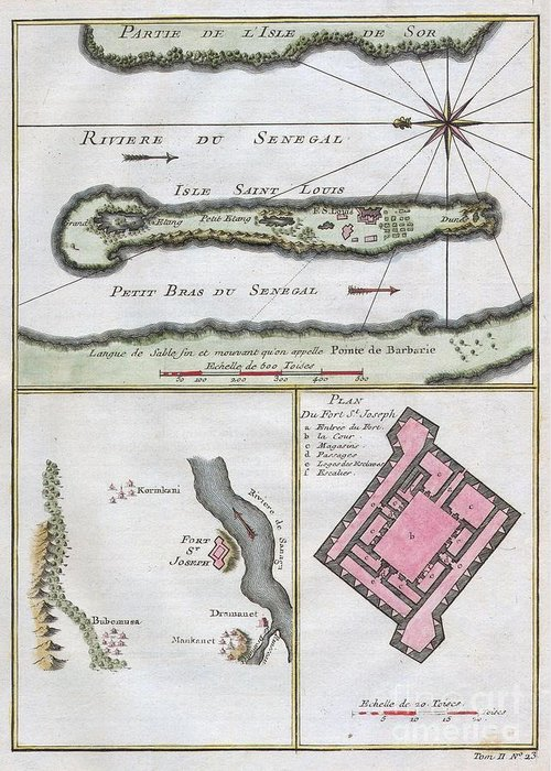 This Stunning 1747 Nautical Chart By French Mapmaker J. C. Bellin Greeting Card featuring the photograph 1750 Bellin Map Of The Senegal by Paul Fearn