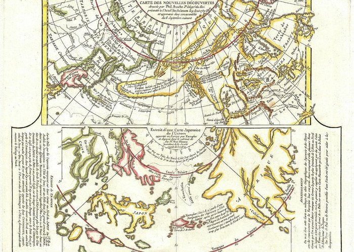Greeting Card featuring the photograph 1772 Vaugondy Diderot Map Of Alaska The Pacific Northwest And The Northwest Passage by Paul Fearn