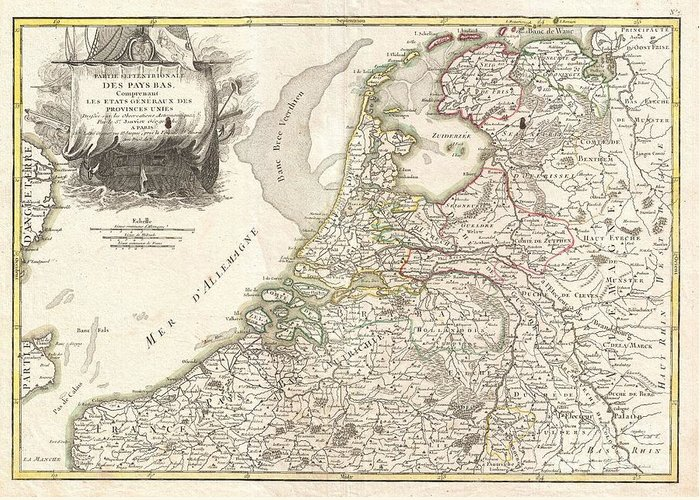 Greeting Card featuring the photograph 1775 Janvier Map Of Holland And Belgium by Paul Fearn