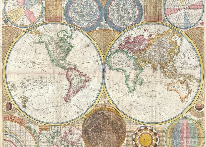 An Absolutely Stunning And Monumental Double Hemisphere Wall Map Of The World By Samuel Dunn Dating To 1794. This Extraordinary Map Is So Large And So Rich In Detail That It Is Exceptionally Challenging To Do It Full Justice In Either Photographic Or Textual Descriptions. Covers The Entire World In A Double Hemisphere Projection. The Primary Map Is Surrounded On All Sides But Detailed Scientific Calculations And Descriptions As Well As Northern And Southern Hemisphere Star Charts Greeting Card featuring the photograph 1794 Samuel Dunn Wall Map Of The World In Hemispheres by Paul Fearn