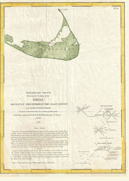The History Of This Most Dangerous And Fatal Shoal Is Startling. Situated In Mid-ocean; Having Greeting Card featuring the photograph 1846 Us Coast Survey Map Of Nantucket by Paul Fearn
