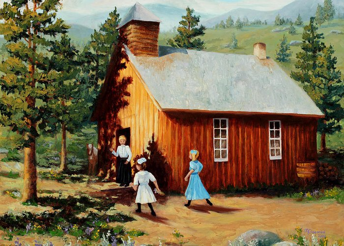 1800's Greeting Card featuring the painting 1896 School House by Mary Giacomini