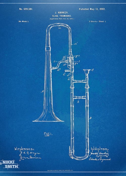 Trombone Greeting Card featuring the drawing 1902 Slide Trombone Patent Blueprint by Nikki Marie Smith