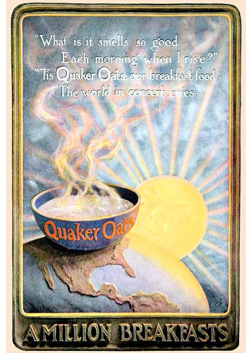 1906 Greeting Card featuring the digital art 1906 - Quaker Oats Cereal Advertisement - Color by John Madison