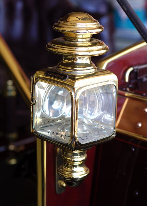 1907 Panhard Et Levassor Lamp Greeting Card featuring the photograph 1907 Panhard Et Levassor Lamp by Jill Reger