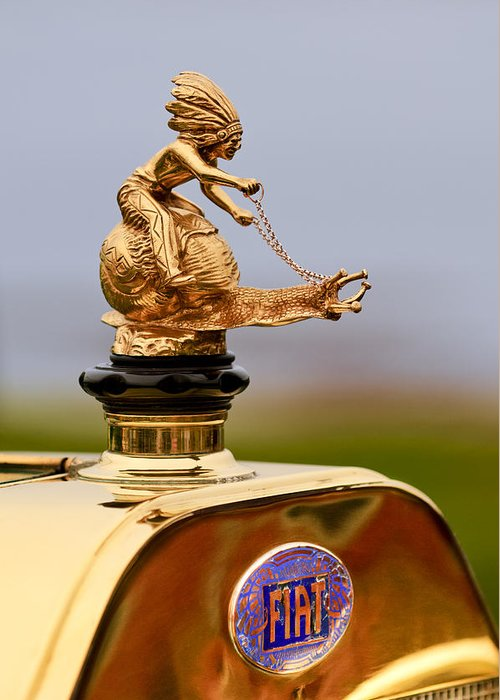 1911 Fiat Tipo 6 Holbrook 4 Passenger Demi-tonneau Greeting Card featuring the photograph 1911 Fiat Tipo 6 Holbrook 4 Passenger Demi-tonneau Hood Ornament by Jill Reger