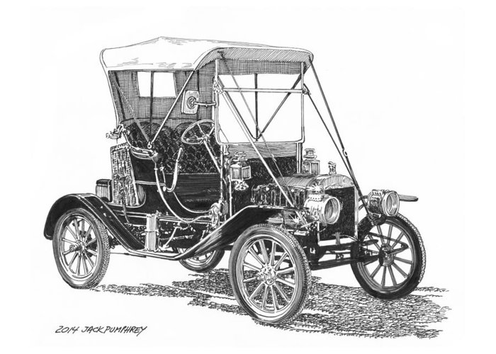 Pen & Ink Drawing By Jack Pumphrey Of The Ford Model T Greeting Card featuring the drawing 1911 Ford Model T Tin Lizzie by Jack Pumphrey