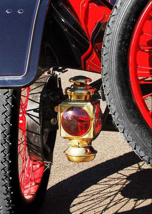 1911 Ford Model T Torpedo 4 Cylinder 25 Hp Taillight Greeting Card featuring the photograph 1911 Ford Model T Torpedo 4 Cylinder 25 Hp Taillight by Jill Reger