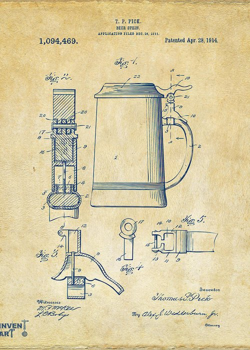 Beer Stein Greeting Card featuring the drawing 1914 Beer Stein Patent Artwork - Vintage by Nikki Marie Smith