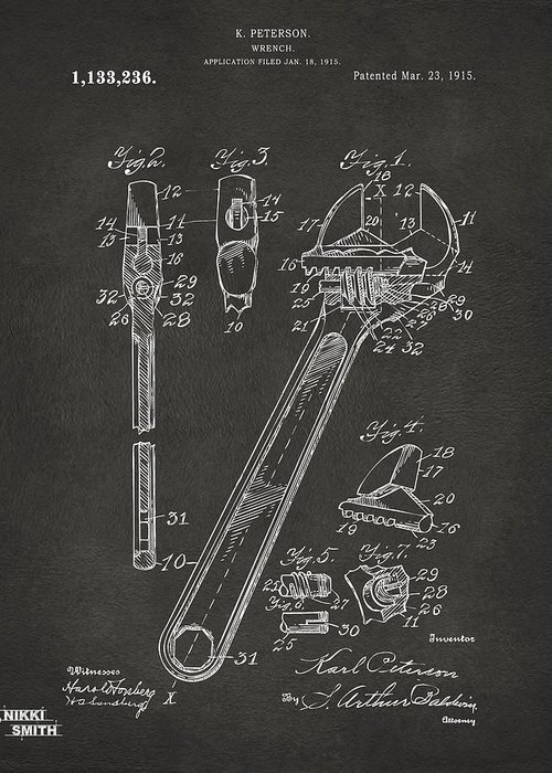 Wrench Greeting Card featuring the drawing 1915 Wrench Patent Artwork - Gray by Nikki Marie Smith