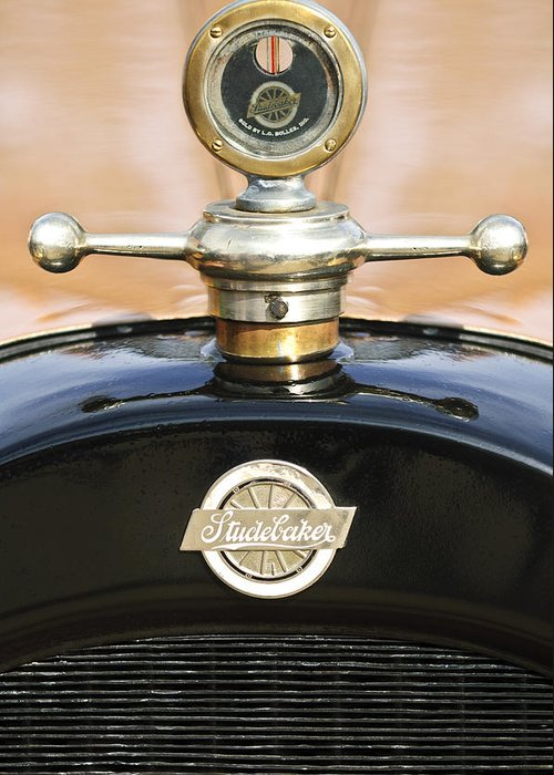 1922 Studebaker Touring Greeting Card featuring the photograph 1922 Studebaker Touring Hood Ornament by Jill Reger