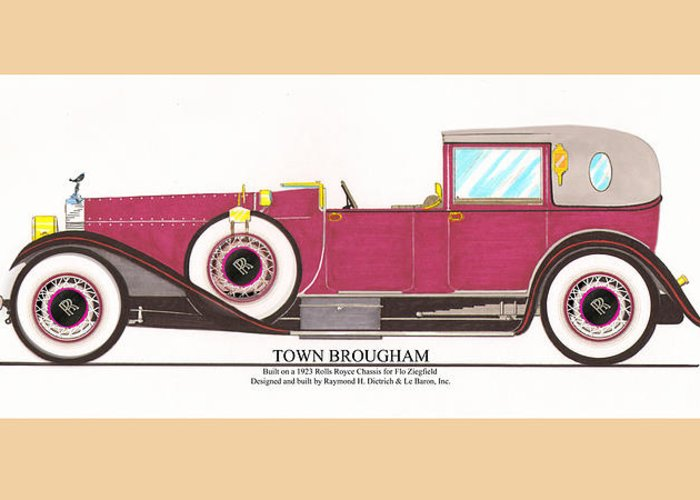 Car Art Greeting Card featuring the painting 1923 Rolls Royce By Raymond H Dietrich by Jack Pumphrey