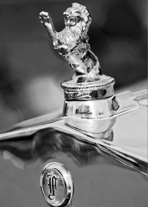1927 Franklin Greeting Card featuring the photograph 1927 Franklin Sedan Hood Ornament 2 by Jill Reger