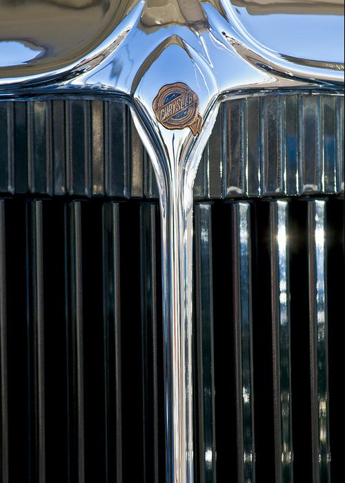 1932 Chrysler Victoria Greeting Card featuring the photograph 1932 Chrysler Hood Ornament by Jill Reger