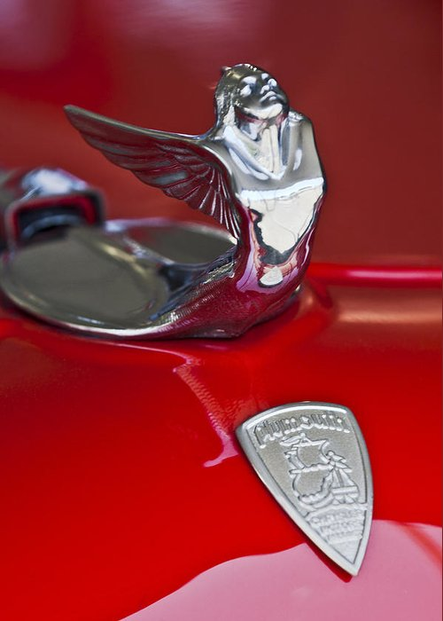1933 Plymouth Custom Coupe Greeting Card featuring the photograph 1933 Plymouth Hood Ornament by Jill Reger