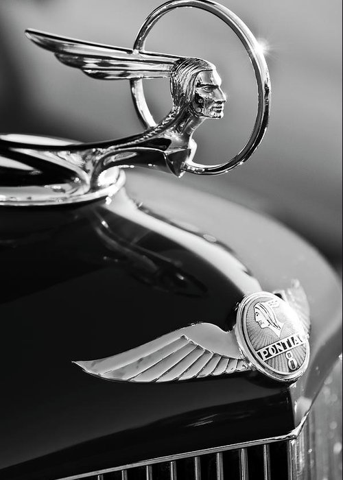 1933 Pontiac Greeting Card featuring the photograph 1933 Pontiac Hood Ornament 4 by Jill Reger