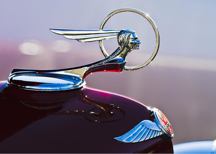1933 Pontiac Greeting Card featuring the photograph 1933 Pontiac Hood Ornament by Jill Reger