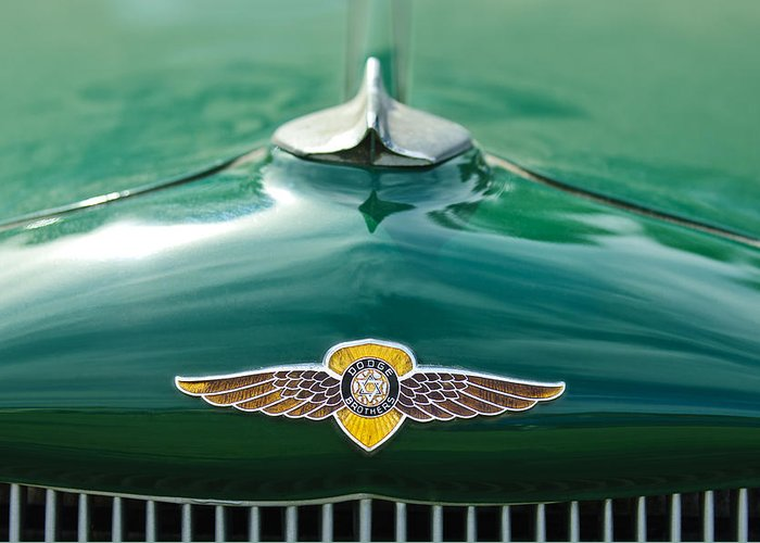 1934 Dodge Greeting Card featuring the photograph 1934 Dodge Hood Ornament Emblem by Jill Reger