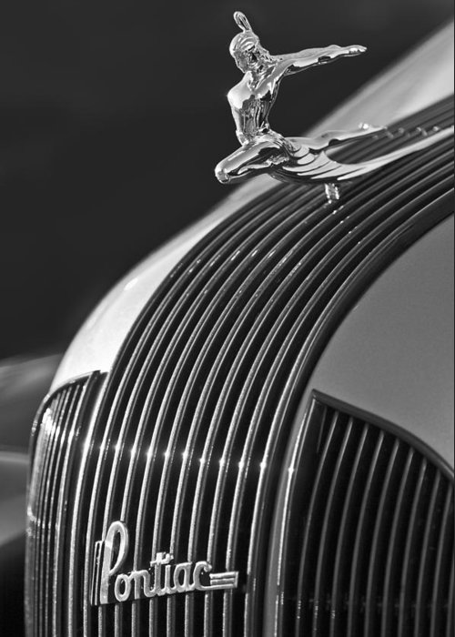 1935 Pontiac Sedan Greeting Card featuring the photograph 1935 Pontiac Sedan Hood Ornament 3 by Jill Reger