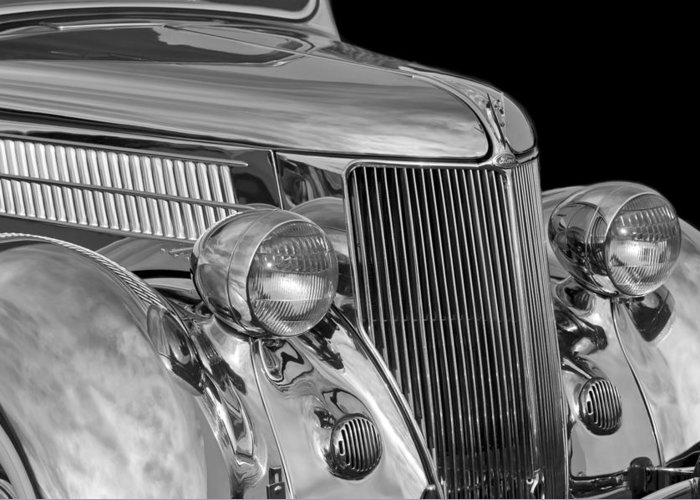 1936 Ford - Stainless Steel Body Greeting Card featuring the photograph 1936 Ford - Stainless Steel Body by Jill Reger