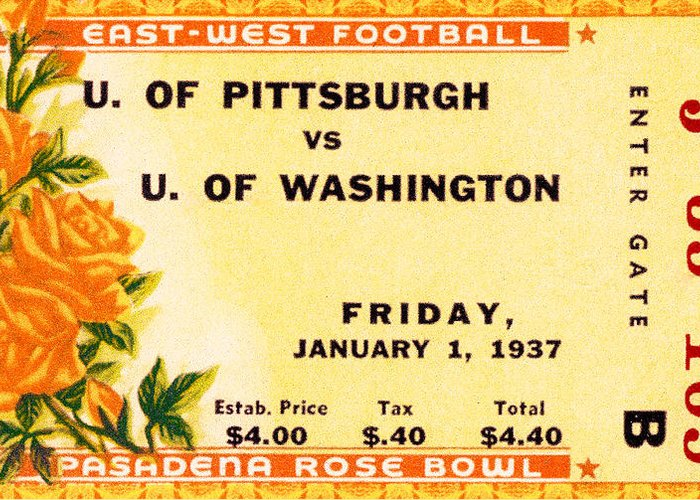 Tticket Greeting Card featuring the photograph 1937 Rose Bowl Ticket by David Patterson