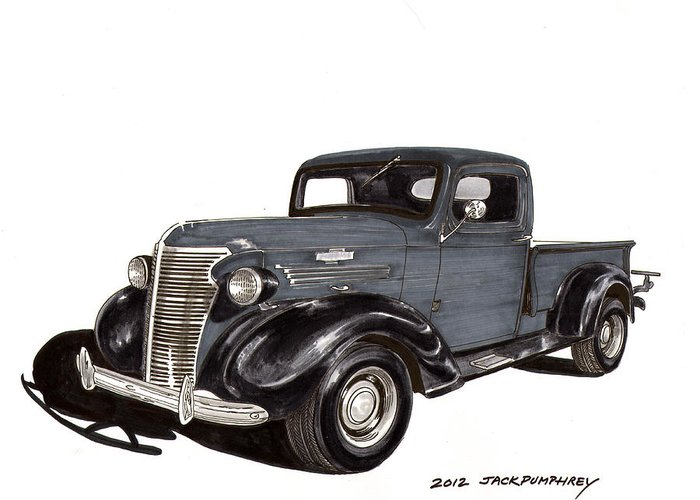 Framed Art Prints Of 1938 Chevrolet Pickup Trucks Greeting Card featuring the drawing 1938 Chevy Pickup by Jack Pumphrey