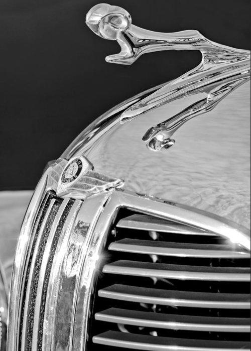 1938 Dodge Ram Greeting Card featuring the photograph 1938 Dodge Ram Hood Ornament 4 by Jill Reger