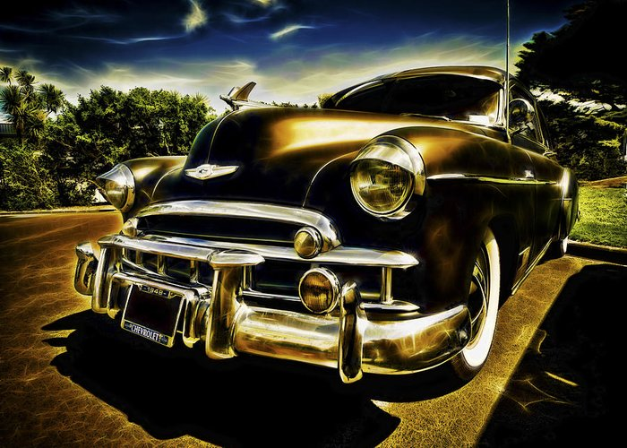 Custom Chevy Greeting Card featuring the photograph 1949 Chevrolet Deluxe Coupe by motography aka Phil Clark