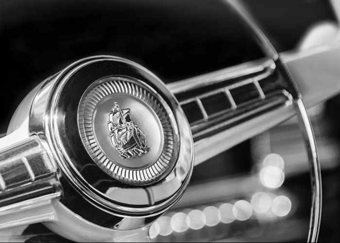 1949 Plymouth P-18 Special Deluxe Convertible Steering Wheel Emblem Greeting Card featuring the photograph 1949 Plymouth P-18 Special Deluxe Convertible Steering Wheel Emblem by Jill Reger