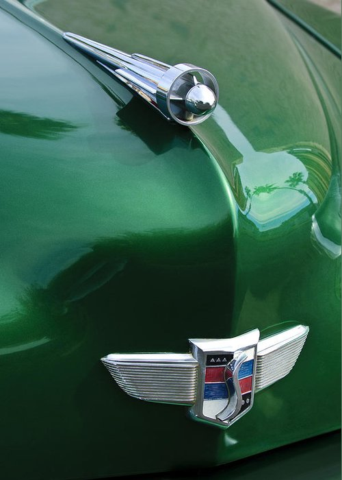 1949 Studebaker Champion Greeting Card featuring the photograph 1949 Studebaker Champion Hood Ornament by Jill Reger