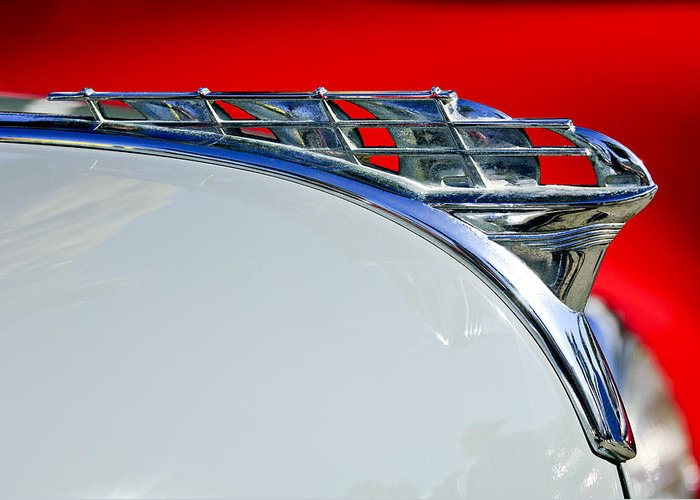 1950 Plymouth Coupe Greeting Card featuring the photograph 1950 Plymouth Hood Ornament 3 by Jill Reger